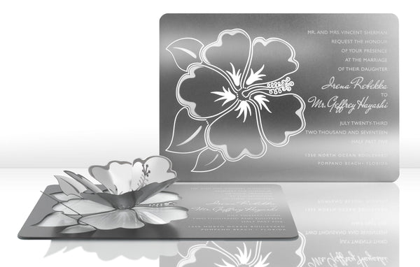 Hibiscus Metal Invitation