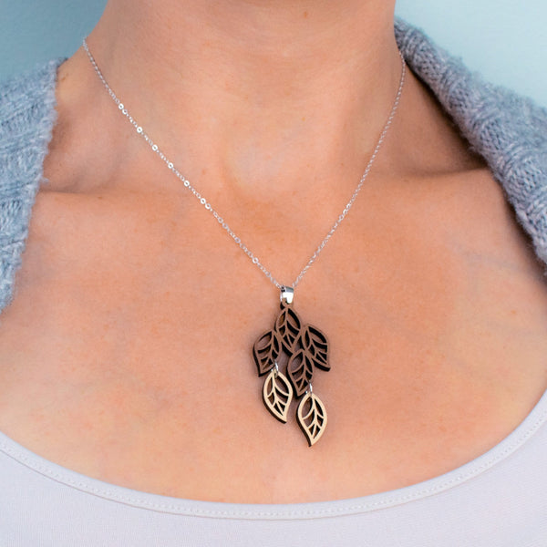 Leaves Two-Tone Hardwood and Silver Necklace
