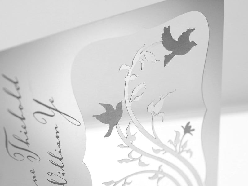 Lovebirds Metal Invitation