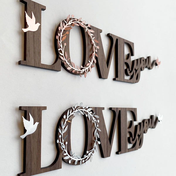 """Love You"" Wood and Metal Word Art"