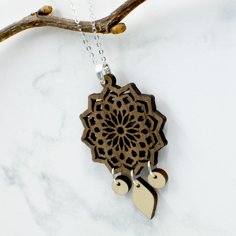 Mandala Two-Tone Hardwood and Silver Necklace