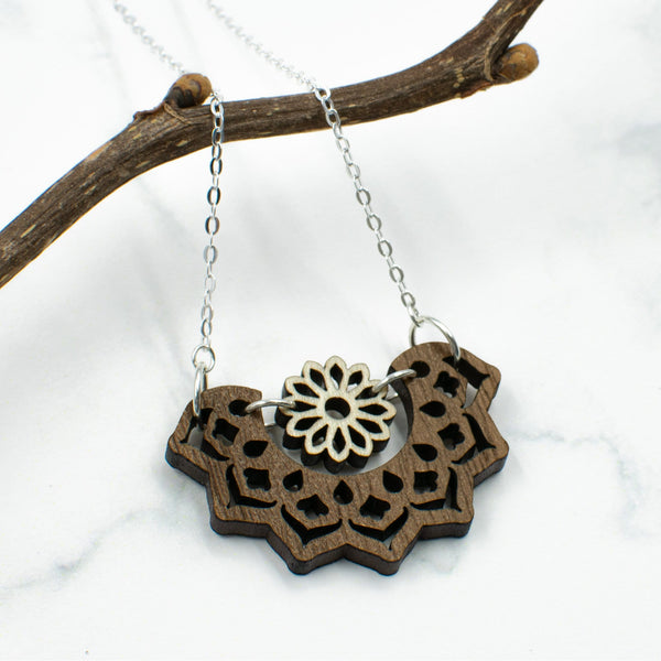 Mandala and Flower Two-Tone Hardwood and Silver Necklace
