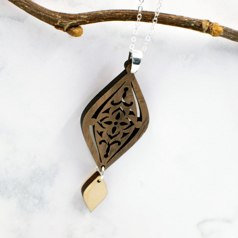 Moroccan Two-Tone Hardwood and Silver Necklace
