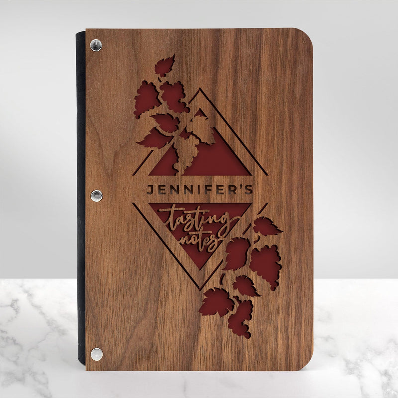 Personalized Grapevines Hardwood Wine Journal