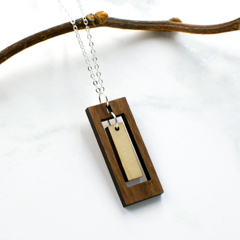 Rectangle Two-Tone Hardwood and Silver Necklace