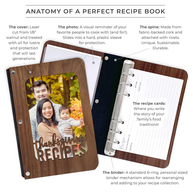 """Thanksgiving Recipes"" Walnut Hardwood Photo Recipe Book"
