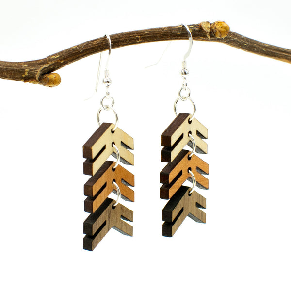 Three Arrows Three-Tone Wood Dangle Earrings for Down Syndrome Support