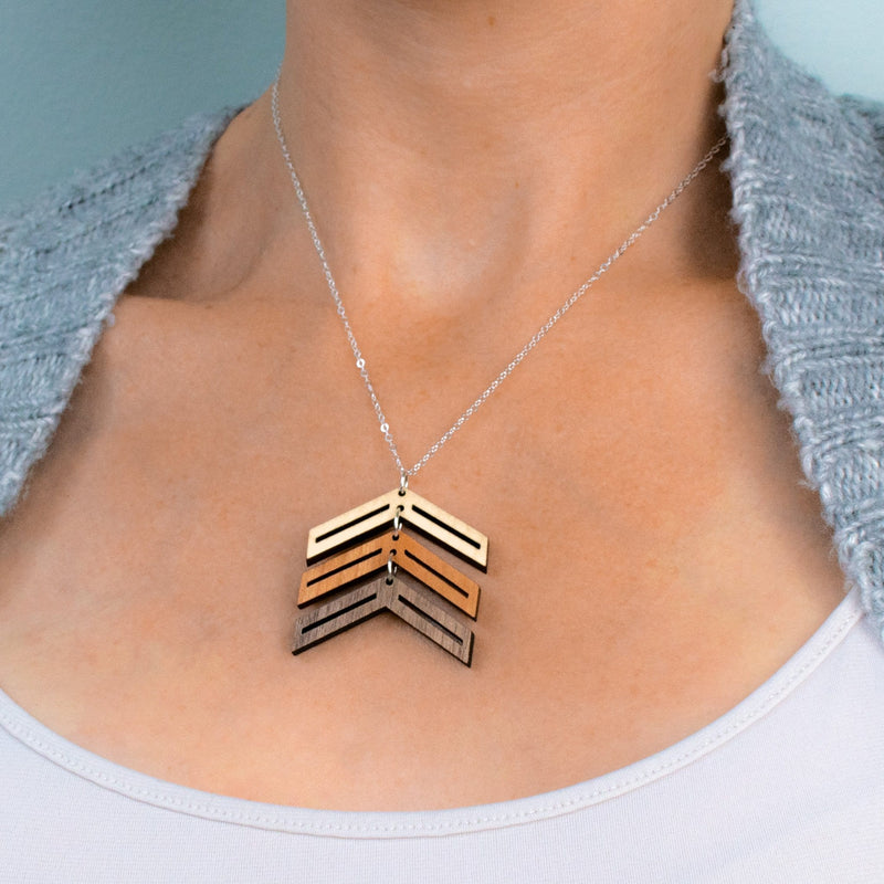 Three Arrows Three-Tone Hardwood and Silver Necklace for Down Syndrome Support
