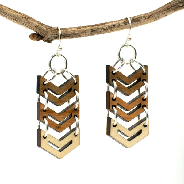 Chevron Three-Tone Hardwood and Silver Dangle Earrings