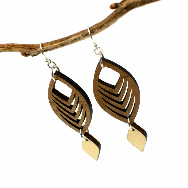 Curved Chevron Two-Tone Hardwood and Silver Dangle Earrings