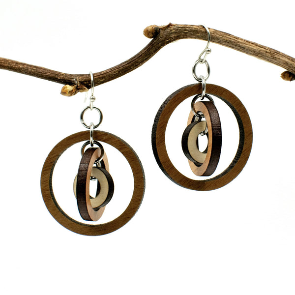 Gyroscope Circles Three-Tone Hardwood and Silver Dangle Earrings