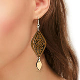 Moroccan Two-Tone Hardwood and Silver Dangle Earrings
