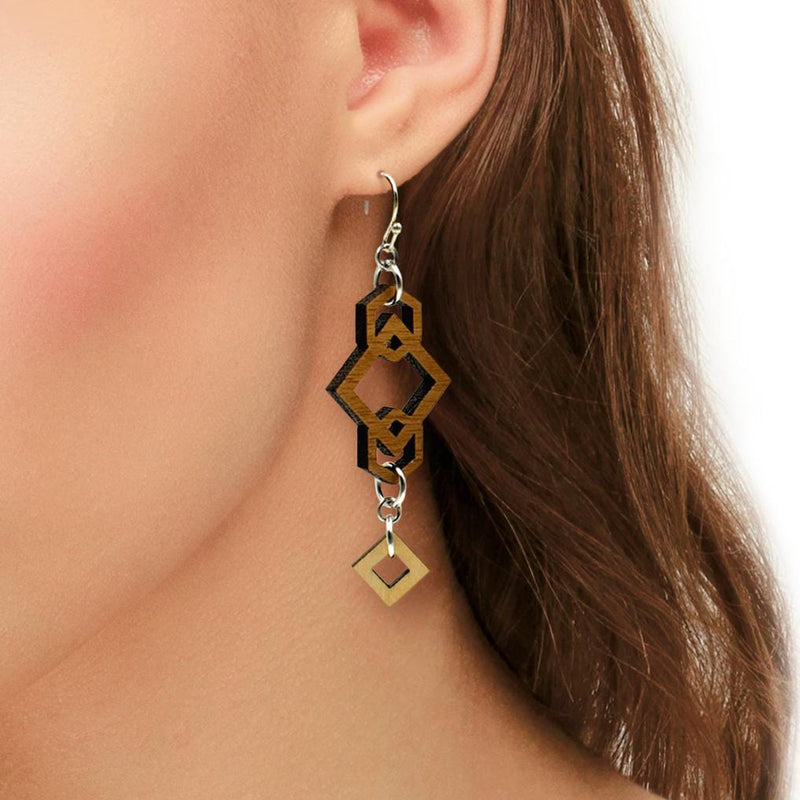 Geometric Two-Tone Hardwood and Silver Dangle Earrings