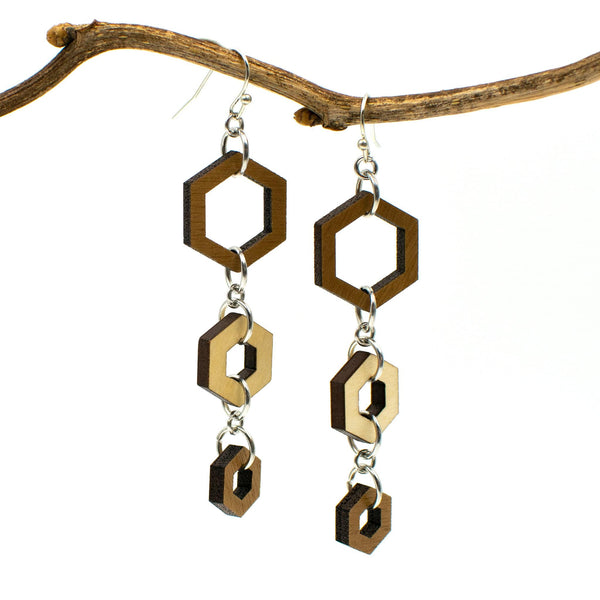 Hexagon Two-Tone Hardwood and Silver Dangle Earrings