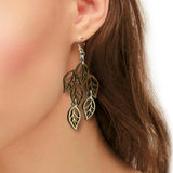Leaves Two-Tone Hardwood and Silver Dangle Earrings