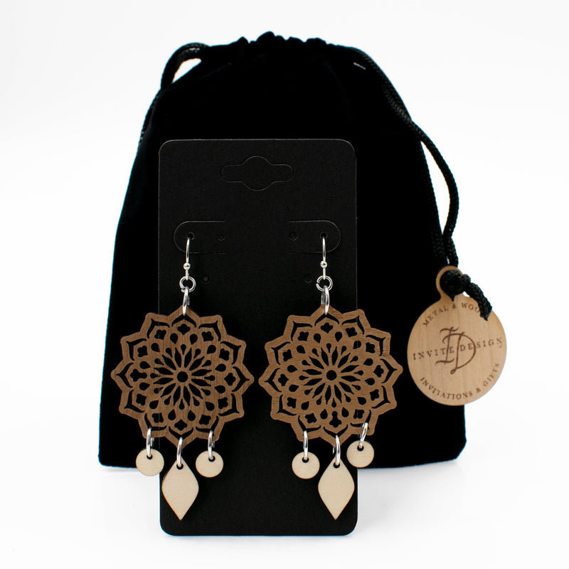 Mandala Two-Tone Hardwood and Silver Dangle Earrings