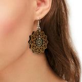Mandala and Flower Two-Tone Hardwood and Silver Dangle Earrings