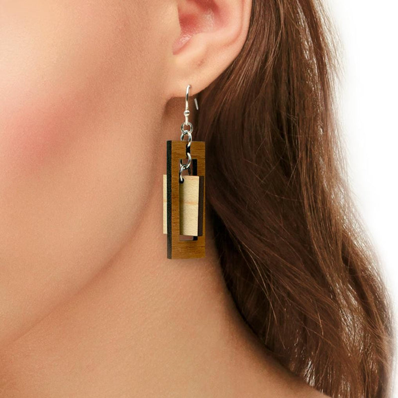 Rectangle Two-Tone Hardwood and Silver Dangle Earrings