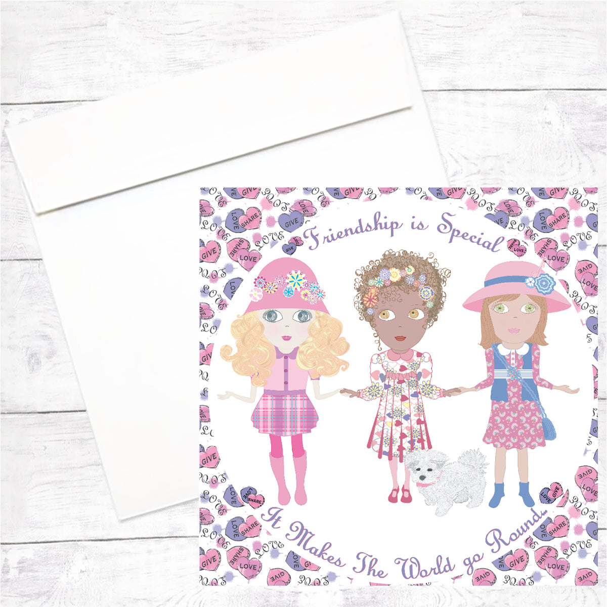Flower Girls Greeting Cards: Friendship is Special