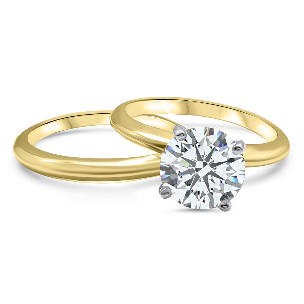 Solid 14K Yellow Gold Moissanite Wedding Ring With Matching Band 2 CT Round Brilliant Cut Moissanite Engagement Ring Gift Collections