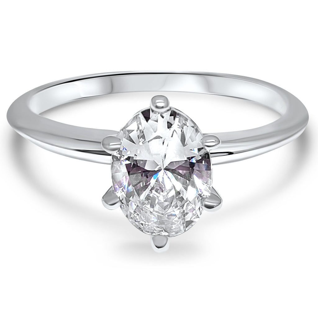 Oval Cz Solitaire Ring 14k White Gold Gold Cz Engagement Ring Cubic Eternal Jewelry Lv