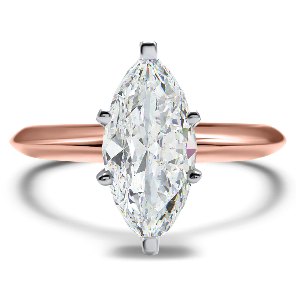 14k Rose Gold Marquise Cz Engagement Ring Cubic Zirconia Ring 1 Carat Eternal Jewelry Lv