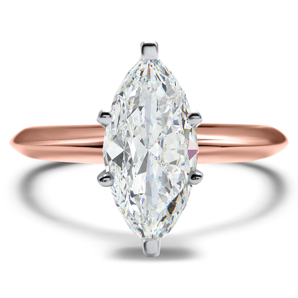 CZ Cubic Zirconia solitaire engagement ring 14K Rose Gold 1 carat 6 prong