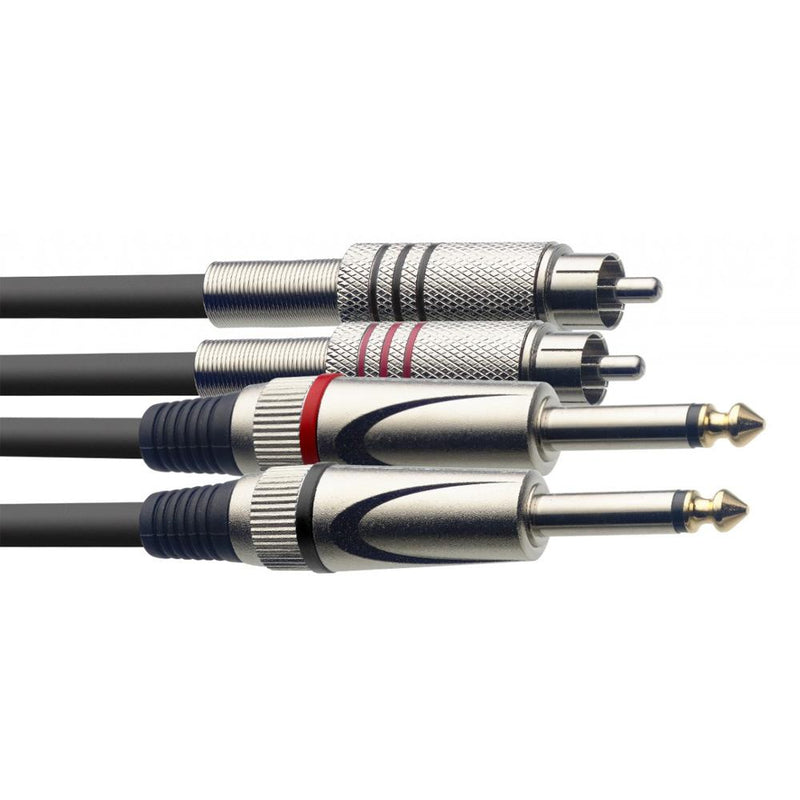 "Stagg Twin 6.3mm 1/4"" to Twin RCA/Phono Lead 1.5m 