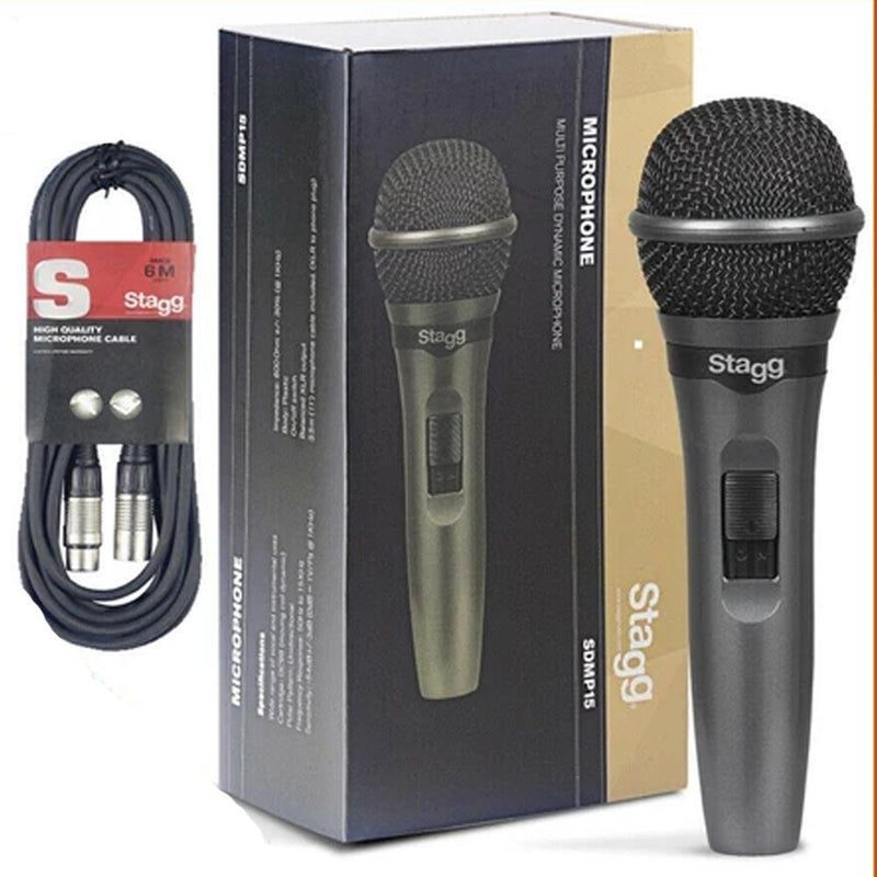 Stagg SDMP15 High Quality Wired Dynamic DJ Microphone With 6m XLR-XLR Cable - DY Pro Audio