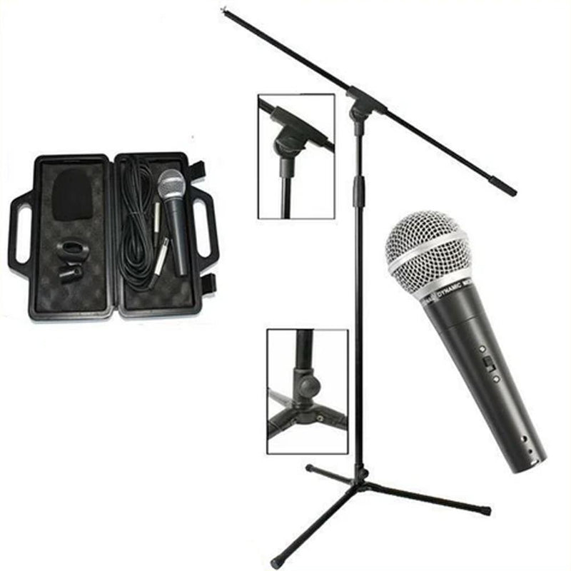 Microphone + Microphone Stand + Mic Clip + XLR Cable | Boom Stand | Mic Bundle - DY Pro Audio