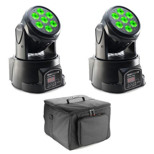 2 x Stagg Headbanger 10 Moving Heads with Carry Bag - DY Pro Audio