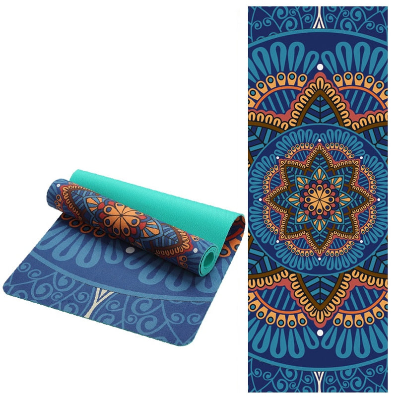 6 MM Lotus Pattern Suede TPE Yoga Mat Pad Non slip - Gym Mist