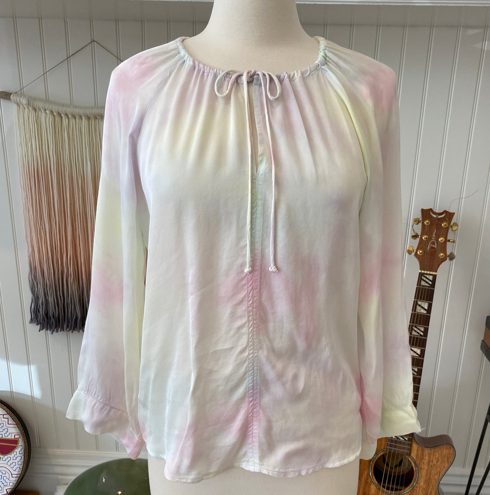 Candy Tie Dye Peasant Top