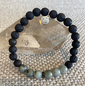 Black Lava And Amazonite Intention Bracelet