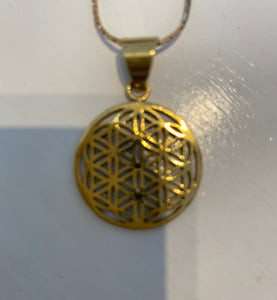 Flower of Life Small Brass Pendant