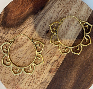 Small Brass Lotus Hoop Earrings