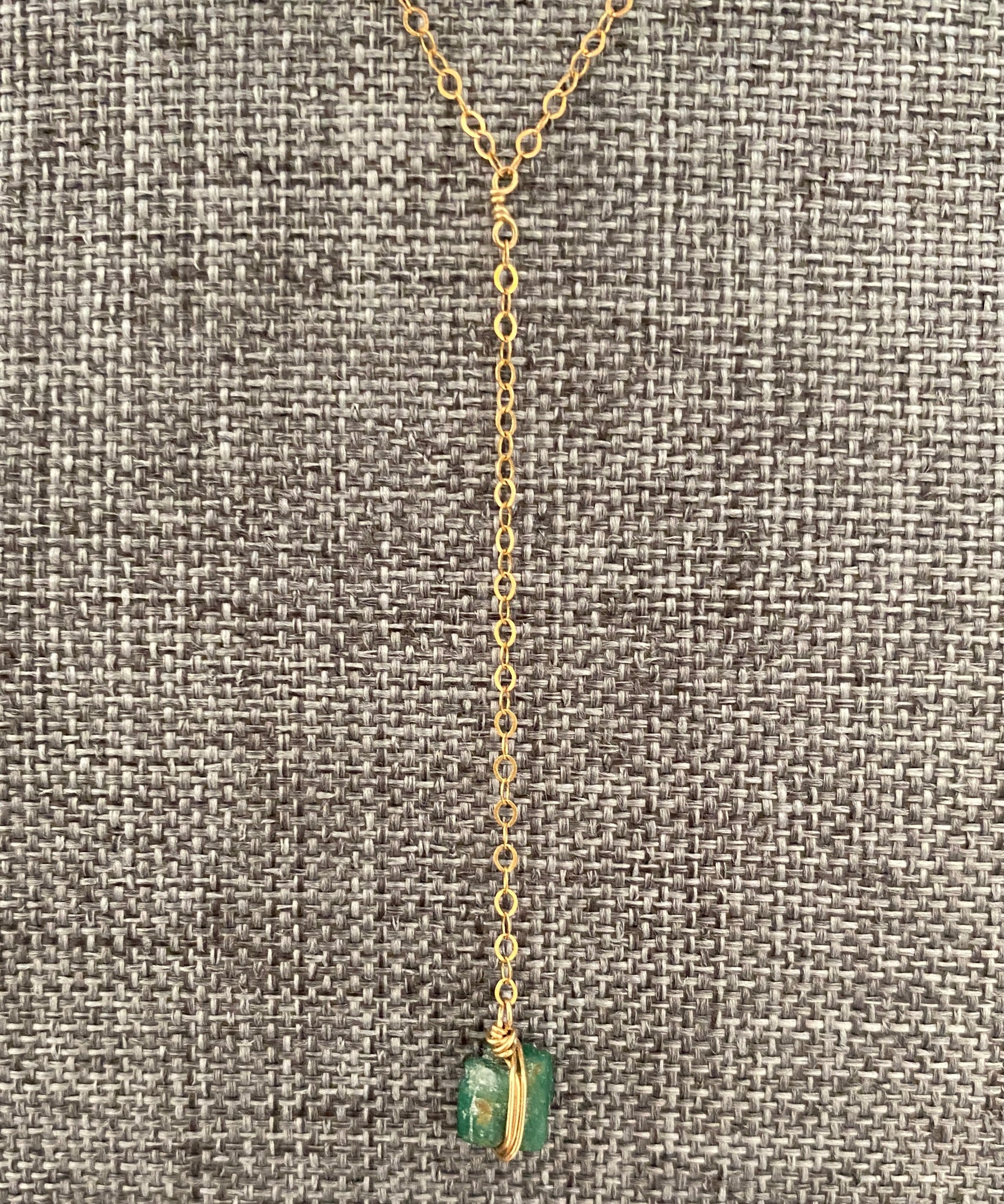 Raw Emerald Lariate Necklace