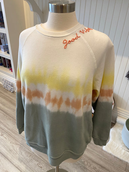 Good Vibes Tie Dye Sweatshirts (Yellow Orange and Sage)