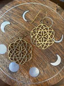 Seed of Life Star Brass Earrings