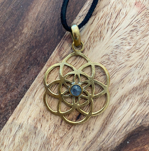 Brass Flower of Life Pendant with Moonstone