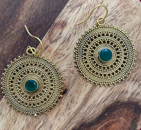 Brass and Green Onyx Stone Earrings