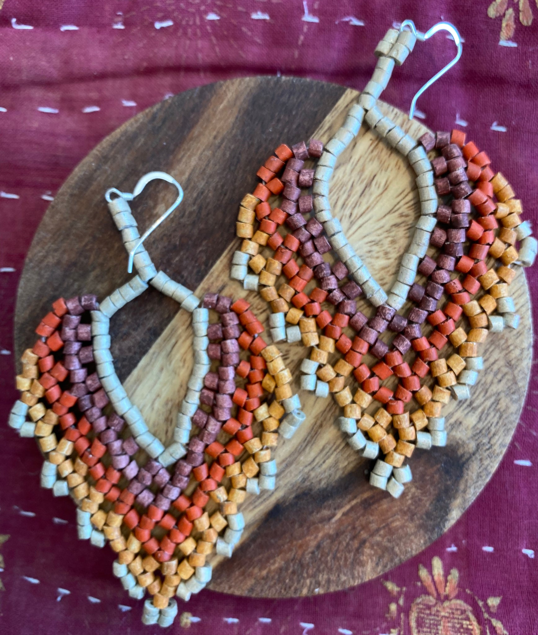 Beaded Heart Earrings
