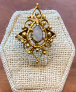 Brass Moonstone Goddess Ring