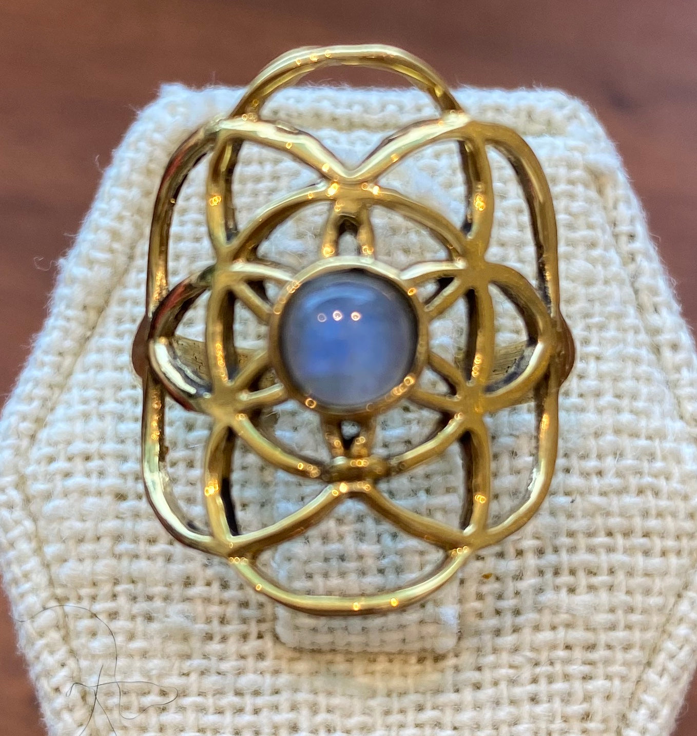 Seed of Life Brass and Moonstone Ring