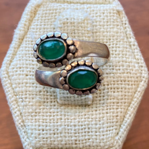 Sterling Silver and Green Onyx Ring