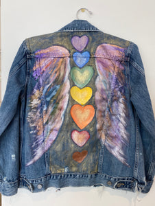 Handpainted Denim Jacket - Chakra Hearts with Wings