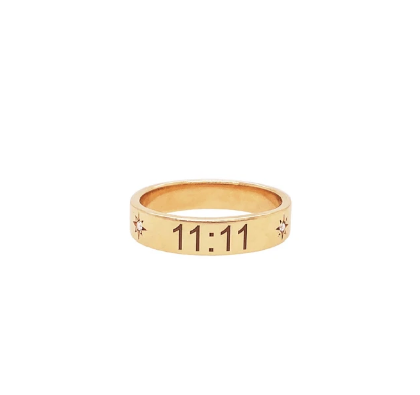 Trust The Universe 11:11 Gold Band With Diamond