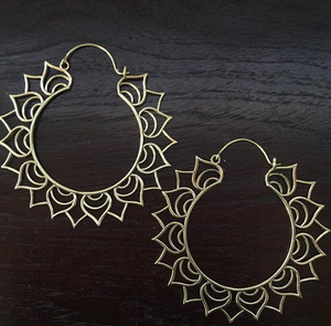 Brass Lotus Hoop Earrings