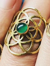 Brass Flower Of Life With Green Malachite Ring