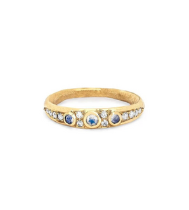 Gold And Blue Moonstone And Diamond Band